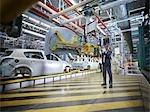 Travailleur d'usine de voiture avec des machines