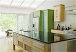 Modern kitchen island in kitchen