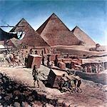 PYRAMIDES D'ÉGYPTE SEPT MERVEILLES ANTIQUES MONDE ESCLAVES TRAVAILLEURS QUI SE DÉPLACENT GROSSE PIERRE SUR RAMPE