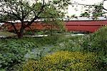DREIBELBIS STATION ÜBERDACHTE BRÜCKE IN SPRINGTIME ERBAUT 1869 NAHE LENHARTSVILLE PENNSYLVANIA USA