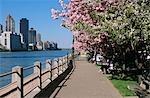NEW YORK, NY BLICK AUF MANHATTAN SKYLINE VON ROOSEVELT ISLAND IM FRÜHLING