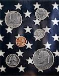 1970s ARRANGEMENT UNITED STATES COINS STAR BACKGROUND NICKEL PENNY QUARTER DIME HALF DOLLAR PRESIDENTS
