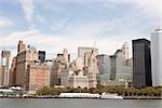 Vue de Manhattan Financial District du fleuve Hudson