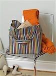 Still Life of Reusable Shopping Bag on Chair