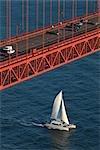 Voilier en passant sous le Golden Gate Bridge, San Francisco, Californie, USA