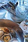Schmutziges Geschirr in Kitchen Sink