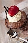 High angle view of a chocolate tart