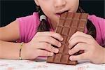 Girl eating a bar of chocolate