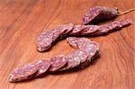 Close-up of sliced salami