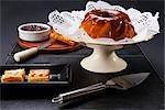 Danish pastries served with chocolate fudge cake