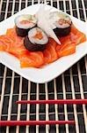 Rouleaux de vue grand angle de sushi sur des tranches de saumons