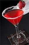 Vue grand angle d'une fraise cocktail