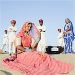 Female rajasthani dancer in a pose, Thar Desert, Jaisalmer, Rajasthan, India