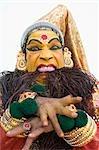 Portrait of a woman kathakali dancing