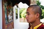 Close-up of a monk, Bhutan Temple, Bodhgaya, Gaya, Bihar, India