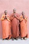 Three monks praying, Bodhgaya, Gaya, Bihar, India