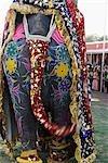 Vue arrière d'un éléphant décoré, Festival de l'éléphant, Jaipur, Rajasthan, Inde