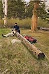 Couple Sitting on Log, Horton Lake, Inyo National Forest, California, USA