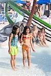 Multi-ethnic children at water park in summer