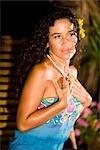 Portrait of young Hispanic woman on tropical island