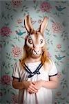 Little Girl Wearing a Bunny Mask