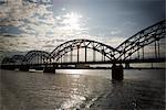 Pont de chemin de fer, fleuve Daugava, Riga, Riga District, Lettonie