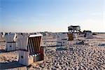 Wicker Beach Chairs, Sankt Peter-Ording, Schleswig-Holstein, Germany