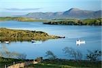 Co Mayo, Irlande ; Soirée offre une vue sur la baie de Clew à Croagh Patrick