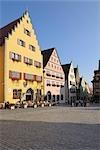 Historic Center, Market Square, Rothenburg ob der Tauber, Ansbach District, Bavaria, Germany