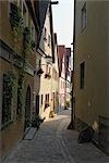 Street, Historic Centre, Rothenburg ob der Tauber, Ansbach District, Bavaria, Germany