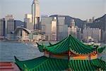 Skyline de Wanchai de Kowloon avec un bateau de tourisme au premier plan, Hong Kong