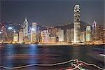 Skyline de Hong Kong au crépuscule de Kowloon