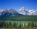 The Rockies and Waterfall Lake, Banff National Park, Canada