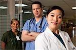 Hospital workers posing