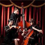 Drei junge Musiker spielen im Orchester