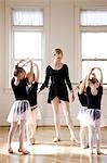 Springville, Utah, USA, Girls (2-3, 4-5) and teacher at ballet school