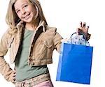 Girl with gift bag