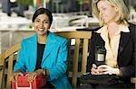 Two businesswomen during lunch break