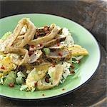 Chicken salad on green plate