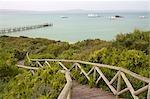 Promenade à jetée, West Coast National Park, Province occidentale du Cap, Afrique du Sud