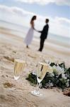 Un couple prenez un verre célébration sur la plage de Kingfisher Bay sur l'île de Fraser.