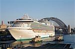 The Saphire Princess cruise liner docked at Sydney's Overseas Passenger Terminal at Circular Quay