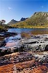 Australia,Tasmania. Peaks of Cradle Mountain (1545m) on Lila Lake on 'Cradle Mountain-Lake St Clair National Park' - part of Tasmanian Wilderness World Heritage Site.