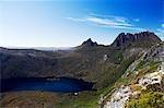 Australia,Tasmania. Peaks of Cradle Mountain (1545m) at Dove Lake on 'Cradle Mountain-Lake St Clair National Park' - part of Tasmanian Wilderness World Heritage Site.