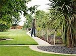 Jardinier inspectant des arbustes en bordure