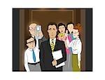 Illustration des gens d'affaires dans l'ascenseur en regardant un bel homme d'affaires