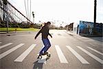 Woman Skateboarding, Santa Cruz, California, USA