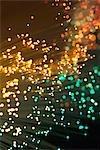 Fibre optics. Close-up of the tips of a bundle of optical fibres.