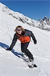 Teenager Snowboarding, Zugspitze, Bavaria, Germany