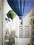 Ballons à Air chaud flottant à travers les rues de Los Angeles, Californie, USA